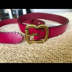 New Fossil pink leather thin belt S